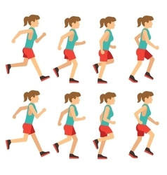 Running woman female runner animation frame loop vector