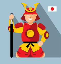samurai japan flat style colorful cartoon vector image