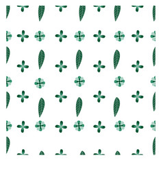 seamless pattern green leaf with green flower eps vector image