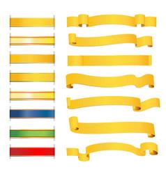 set bright golden ribbons vector image