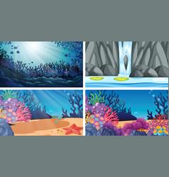 Set different water scenes vector