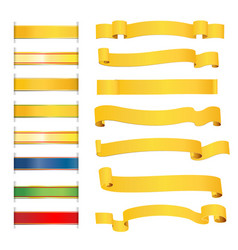 Set of bright golden ribbons vector