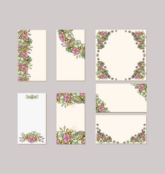 set of flower wedding ornament concept art vector image