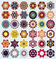 Set of mandala round ornament pattern vector