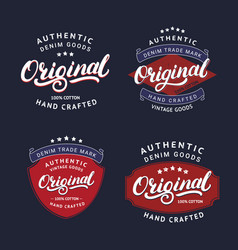 set original hand written lettering for label vector image