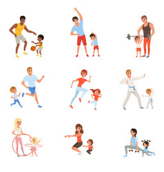 Set with parents and their children doing vector