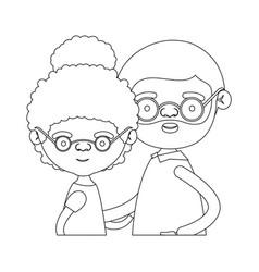 sketch silhouette of half body couple elderly of vector image