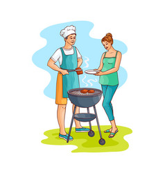 sketch woman taking prepared bbq meat vector image