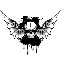 skull with wings 3 vector image