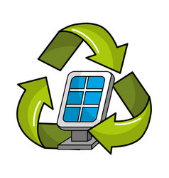 Solar energy inside of recycling symbol vector