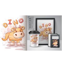 Teddy dinosaur - poster and merchandising vector