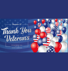 Thank you veterans flying in sky balloons vector