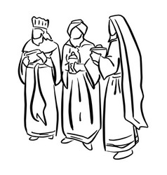 three biblical kings sketch doodle vector image