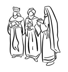 Three biblical kings sketch doodle vector