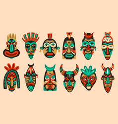 traditional tribal masks ritual african or vector image