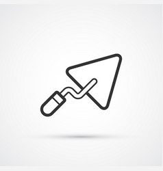trowel flat line black icon eps10 vector image