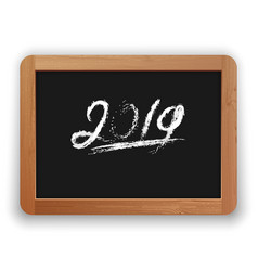 underline 2019 chalk calligraphy on the blackboard vector image