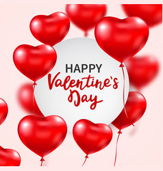 valentines day banner with red 3d glossy heart vector image