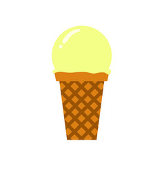 vanilla scooped ice cream simple flat vector image