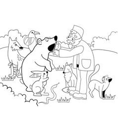 Veterinarian treats animals in the forest vector