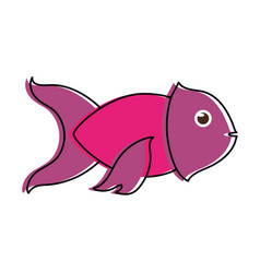 violet fish sideview icon image vector image