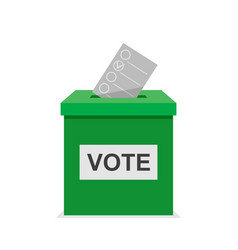 Vote bulletin ith green vote box election and vector