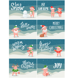winter holidays and christmas posters with pigs vector image