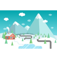 Winter landscape with mountains forest and lake vector image