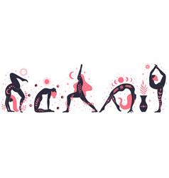 women doing yoga contemporary floral yoga concept vector image