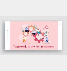 Working routine process teamwork website landing vector