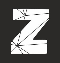 Z white alphabet letter isolated on black vector