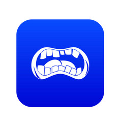 Zombie mouth icon digital blue vector