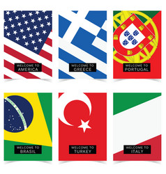 poster with flag in color set vector image