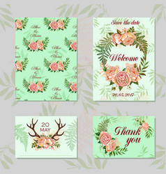 wedding set for decoration magic floral and vector image vector image