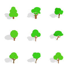 different trees icons isometric 3d style vector image