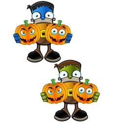 Halloween Monster Holding Two Pumpkins vector image vector image