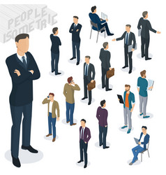 isometric people in office vector image