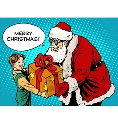 Merry Christmas Santa Claus gift gives the child vector image vector image