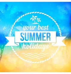 Summer tropical beach background with badge vector image