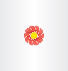 yellow red flower circle logo sign vector image