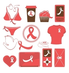 Cute breast cancer awareness items collection vector image vector image