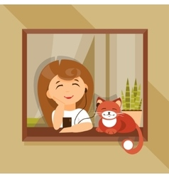 Girl and cat in the headphones vector image