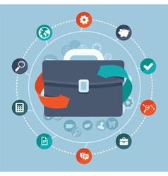 global business briefcase vector image vector image
