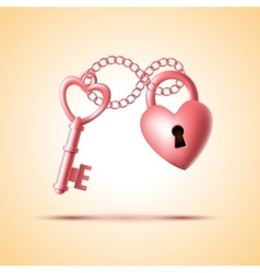 heart lock with key vector image