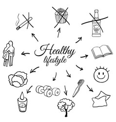 linear set of a healthy lifestyle vector image