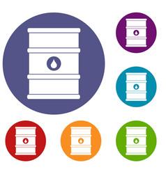 oil barrel icons set vector image vector image