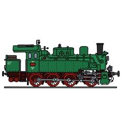 Old green steam locomotive vector