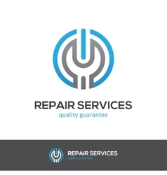 Repair services logo with wrench and power button vector