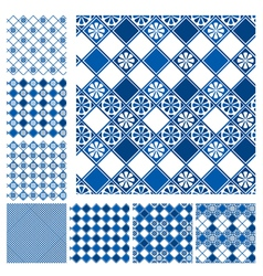 Set of seamless patterns - blue ceramic tiles with vector image vector image