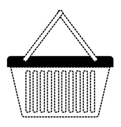 shopping basket icon in black dotted silhouette vector image vector image
